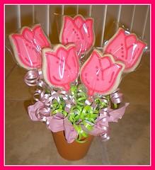 Pink Tulips Cookie Bouquet (tinkabellz17) Tags: pink flower green cookies tulips flowerpot ribbon cookiebouquet sweetsbytink