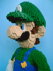 LEGO Luigi - close-up (dm_meister) Tags: sculpture green closeup 3d lego nintendo ds super mario 8bit plumber bros luigi gamecube n64 wii