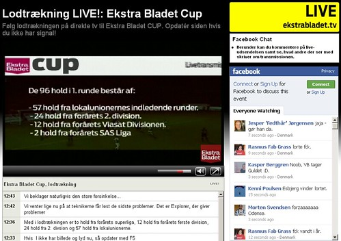 Live-tv, Facebook og Cover it Live
