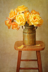 Golden Moments (cbfarrell2003) Tags: roses stilllife orange texture rose yellow vertical vintage gold golden colorful grunge rustic group bunch vase bouquet stool arrangement pail arrange summery memoriesbook colleenfarrell