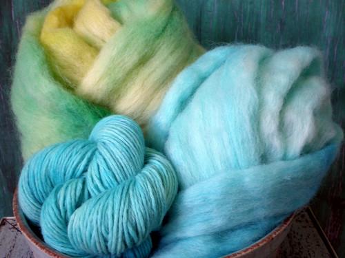 Kool-Aid Dyed Wool Fiber & Merino Yarn