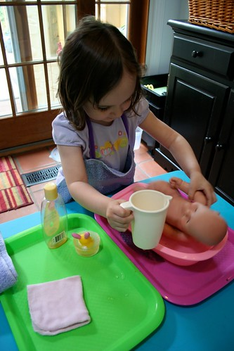 Doll Washing (Photo from Pink and Green Mama)