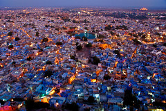 Blucity at sunset (sachinritvika) Tags: old city blue houses light sunset sunlight india building green architecture night contrast landscape lights evening ancient cityscape colours photos shots fort map culture images photograph land rajasthan photgraphy jodhpur