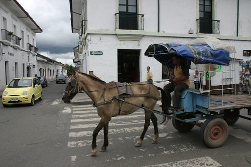 Horse-cart in downtown Popayán, southern Colombia.
