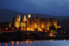 Conwy Castle at Night (Steve Wilson - over 2 million views thank you) Tags: longexposure castle monument closeup wales night geotagged ancient nikon long exposure cloudy conway tripod noflash estuary worldheritagesite nighttime welsh d200 snowdonia fortress geotag conwy ancientmonument conwycastle northwales 11thcentury riverconwy nikond200 conwaycastle riverconway
