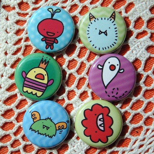 Monsterette button set I drew for Sweetie Pie Press.
