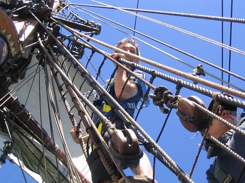 Daniel climbs the rigging