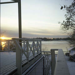 (Putain, quel bordel! [aka Virx]) Tags: morning sea sun white lake snow tree 120 6x6 tlr film water sunrise square nc view kodak sweden balcony veranda sverige mpp suede suecia nops vaxholm 160 160nc microcord