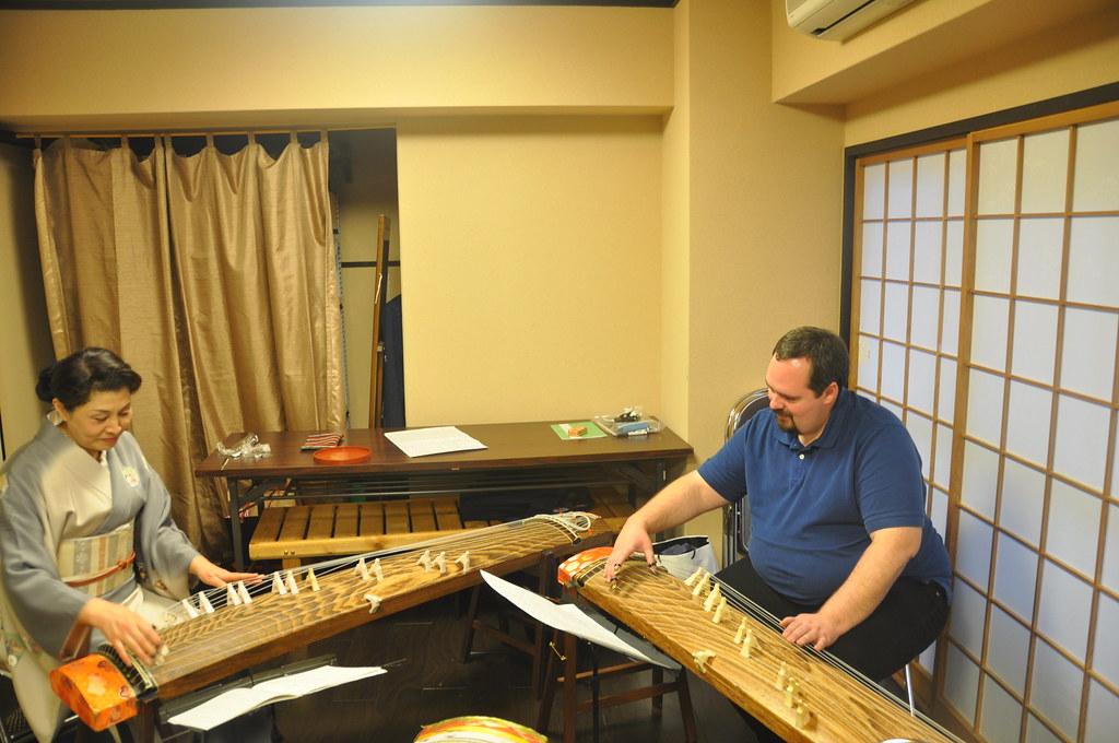 Playing the koto