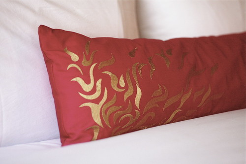pink flame pillow.