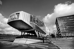 The Shoe (Esther Seijmonsbergen) Tags: bw money holland building amsterdam architecture modern photography mono office exposure thenetherlands bank theshoe ing hdr futuristic zuidas inghouse klapschaats digitl 5xp creditcrunch estherseijmonsbergen wwwdigitalexposurephotographycom