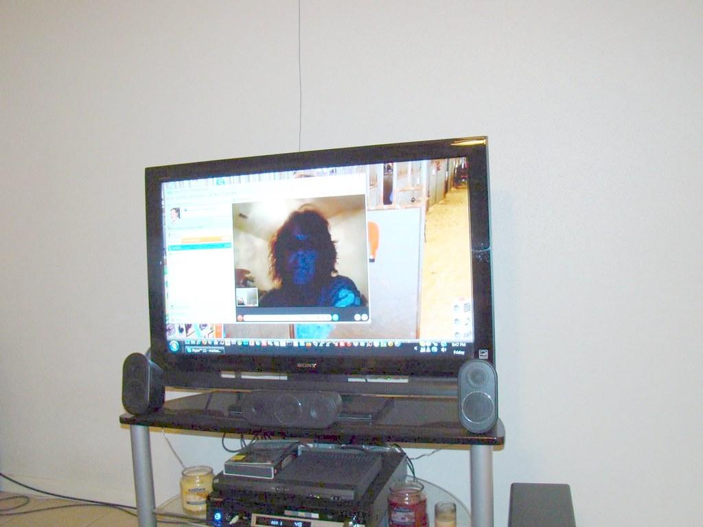 Kim & I Skyping on my desktop