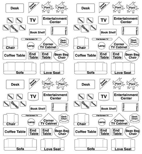 Room Measurement Template: Printable Room Plan Furniture Templates