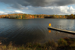 October's Beauty (Neil Weaver Photography) Tags: autumn trees color fall water clouds d50 dock nikon michigan 1755f28 ioniastaterecarea sessionslake