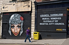 Council Vandalism! (Romany WG) Tags: street art bristol graffiti mural croft illegal vandalism council aerosol stokes vandals removed photorealism 3dom voyder