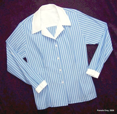 "Pam's Blue Stripe Shirt with front ""Release Tucks"""