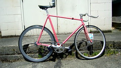 Bike Check (zhoffner) Tags: seattle pink bicycle handmade german fixedgear pursuit krabo zlog velocityb43