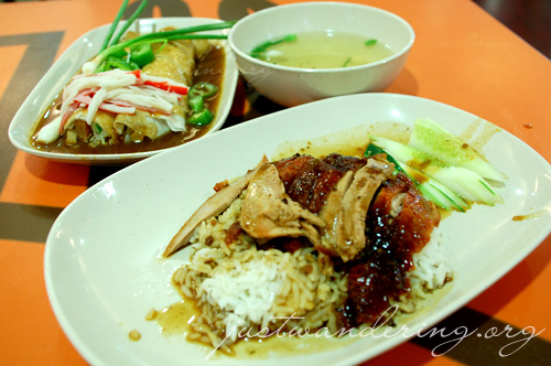 Roast duck rice and fresh spring roll at MBK Food Court