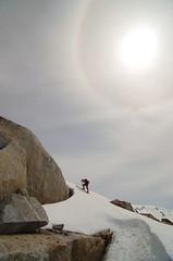 Bram skiing up to gain the bump above the glacier (RichSo) Tags: sky sun mountain snow ski spring corn skiing tour bc halo peak backcountry bluebird squamish sundog slog exodus