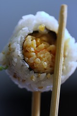 Spicy Shrimp Sushi (*Qatar) Tags: macro sushi japanese sticks rice shrimp chopsticks chop cooked wasabi shrimps