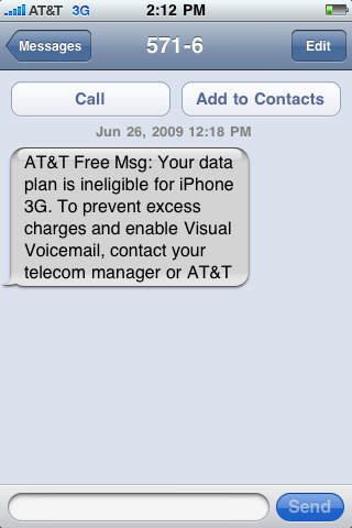 Your data plan is ineligible for iPhone 3G