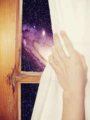 Universe, just  a window away.. (<D.i.a.n.a.>) Tags: window stars hand curtain galaxy universe peaking