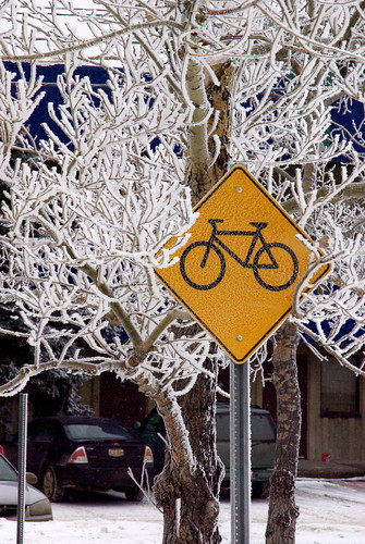 Caution Bikes in Frost