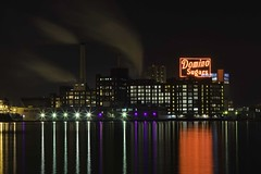 Domino Sugars Sign - Baltimore, MD (crabsandbeer (Kevin Moore)) Tags: city urban reflection sign md long exposure neon factory maryland baltimore smokestacks ravens innerharbor purplelights interestingness124 explored i500 dominosugars explore01242009