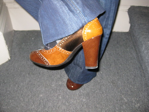 brown patchwork heels