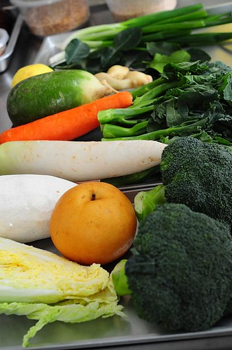 Vegetables - laid out according to each dish's requirements