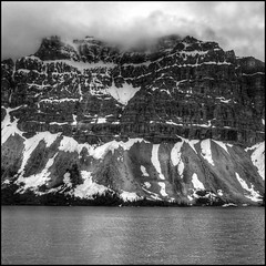 Intimidation (ecstaticist) Tags: cliff cloud mountain lake holiday snow canada water photoshop high exposure five large rocky slide columbia rockface casio alberta parkway strata scree huge layer hdr height icefields enormous photomatix tonemapped tonemapping exf1