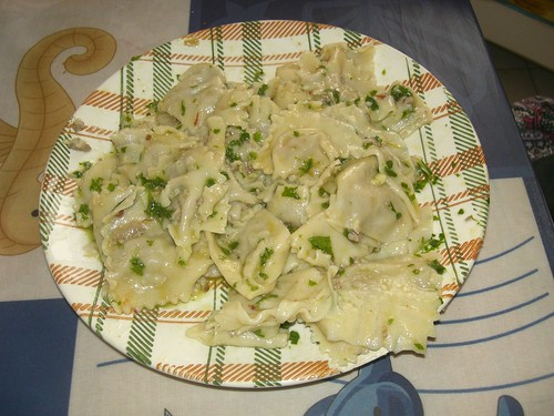 chicken liver ravioli with parsley garlic pesto