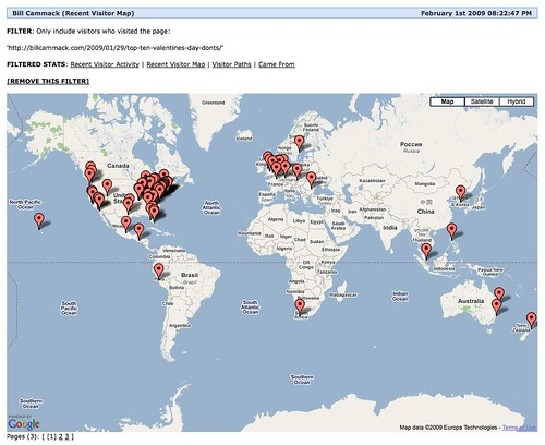 "Recent Visitor map for Lindsey Chen & Bill Cammack's article: ""Top Ten Valentine's Day DON'Ts!"""