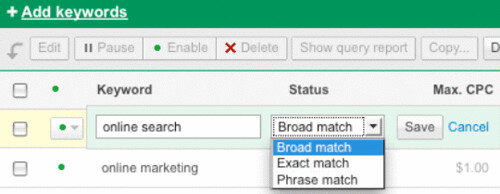 Editing Keywords in Google AdWords New Interface