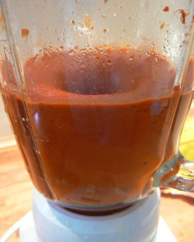 Blending chile ancho paste