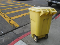 The Only Yellow Trash Can in the County (seaotter22) Tags: street yellow trash can