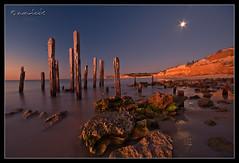 The old jetty (Dylan Toh) Tags: longexposure sunset cliff moon seascape beach nature rock night port coast pier moss jetty south ruin australia shore aldinga willunga everlook platinumphoto auselite theperfectphotographer goldstaraward everlookphotography