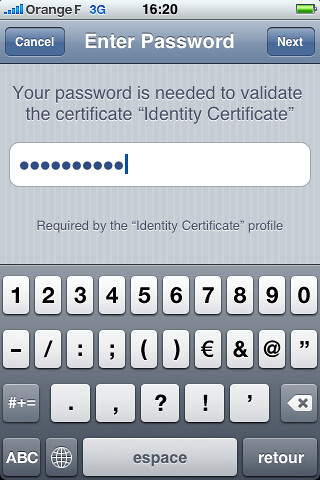 enter certificate password