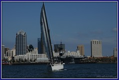 Sailing, San Diego Harbour ~ (**Mary**) Tags: california city usa water skyline sailboat port wow coast boat marine sailing cityscape sandiego harbour shoreline shore coastline aircraftcarrier naval carrier picnik americanhistory sandiegoharbour 5photosaday museumship navalport theussmidway