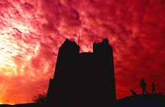 I'm the King of the Castle... (law_keven) Tags: pink sunset red england sky clouds suffolk silhouettes orford caste orfordcastle cloudage explore500