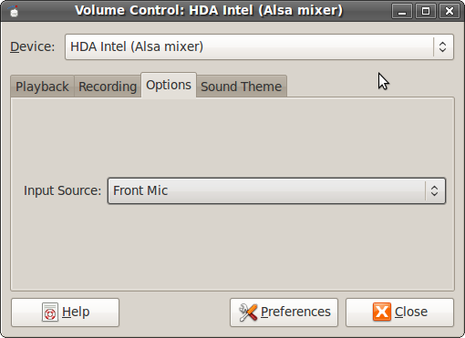 HDA Intel (Alsa mixer) Options Tab