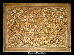 Antique Ornaments Engraved in Wood (Masjid Wazir Khan Lahore) (M.Ali Bhatti {trying to catch up with flickr}) Tags: lighting wood old pakistan india art history beautiful beauty night vintage buildings wonderful lights photo amazing fantastic gallery shot antique snapshot great culture ornaments era historical british dreamy khan lovely lahore masjid engraved mughal wazir