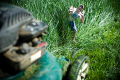 You never know what you'll find (wiseacre photo) Tags: portrait selfportrait man face grass funny small humor lawn help wait lawnmower tall yell dontkillme