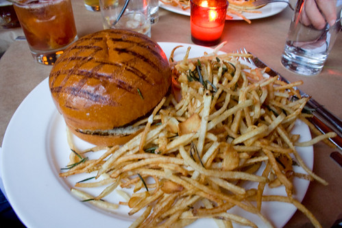 Chargrilled Burger with Roquefort Cheese & Shoestrings
