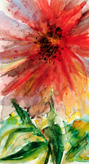 Art: Watercolour:... flower-power... (Nadia Minic) Tags: life red flower rot floral fleur rouge energy force power aquarelle energie joy watercolour luxembourg blume leben kraft freude aquarell pouvoir joiedevivre nadiaminic nadiaart