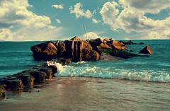 Take Me Away... (jami_lee) Tags: ocean sea ny beach water clouds coneyisland agua rocks jetty wave