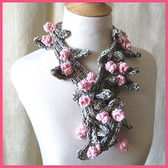 Pink Fairy Rose Lariat (KnittingGuru) Tags: pink rose scarf necklace oneofakind crochet lariat knittingguru
