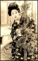 PRETTY GIRL BEHIND A TREE -- Actress SAKUKO YANAGI 柳さく子  (1902-1963)