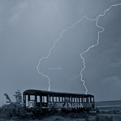"it was a dark and stormy night @ Great Salt lake, Utah (Scott Stringham ""Rustling Leaf Design"") Tags: wood railroad blue cloud lake nature water weather electric night clouds dark landscape photography design utah photo leaf sand view desert graphic earth walk salt snap boom loveit greatsaltlake photograph bolt strike thunderstorm miles lightning electrical weatheredwood thunder bam gsl rld lightningstrike greatbasin bluetone sps inlandsea electricalstorm lightningstorm pacificflyway rustling flightsoffancy mywinners thatwasclose templeofthebirds scottstringham rustlingleafdesign wwwrustlingleafdesigncom"