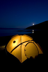 Camping at Applecross (freeskiing) Tags: longexposure blue sea moon west skye beach scotland highlands may tent explore moonlight loch startrails westerross sigma1020mm applecross highlandsofscotland benthorburn